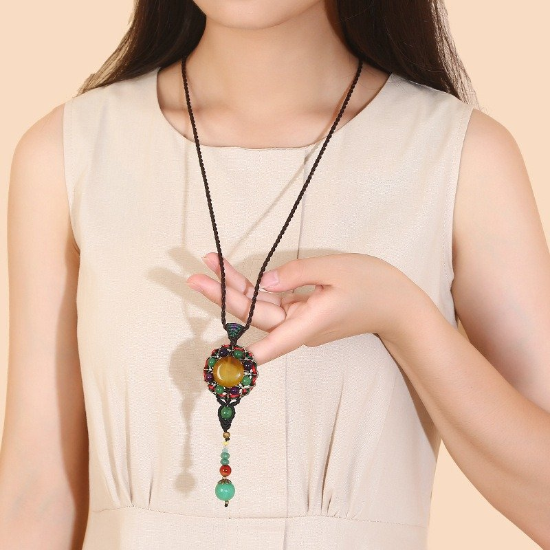 Ethnic_Weaving_Sweater_Necklace_Retro_Agate_Long_Style_Necklace_For_Women