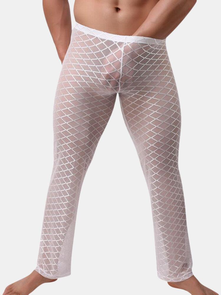 Sexy Spur Thin Translucent Loose Diamond Fabric Design Comfortable Pajamas Sleep Pants for Men