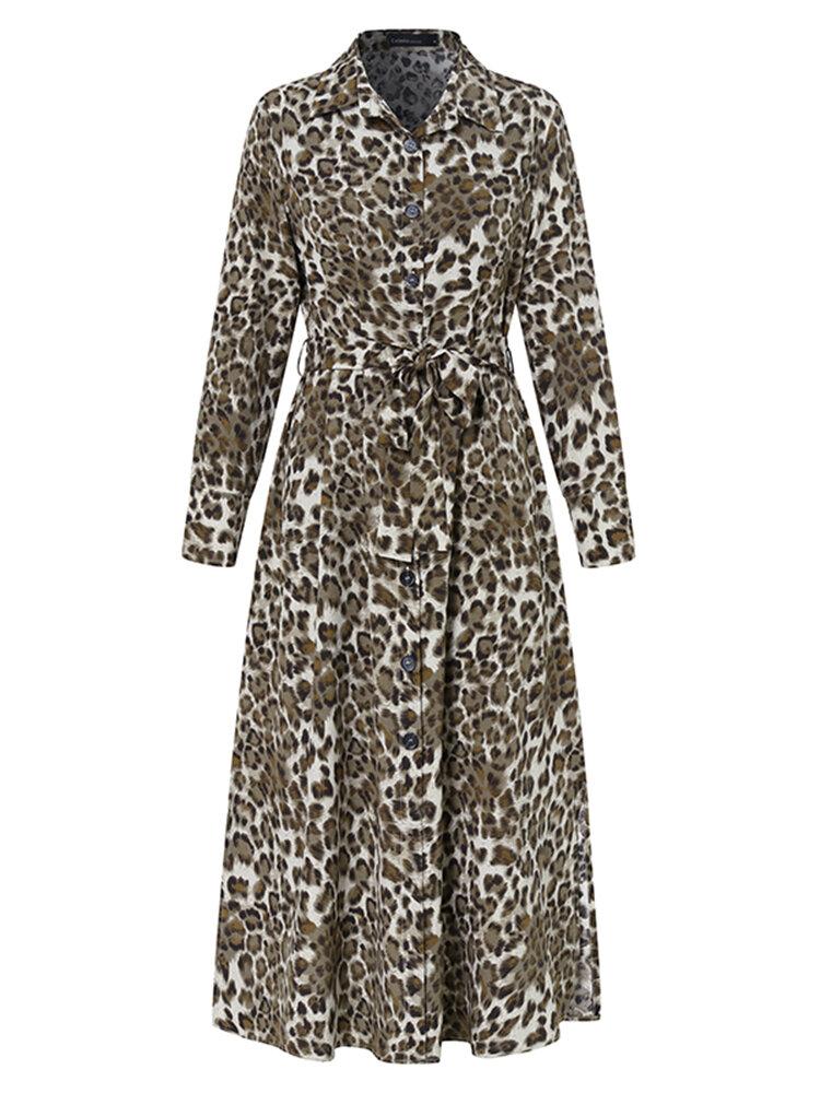 Leopard Print Lapel Long Sleeve Plus Size Dress with Belt
