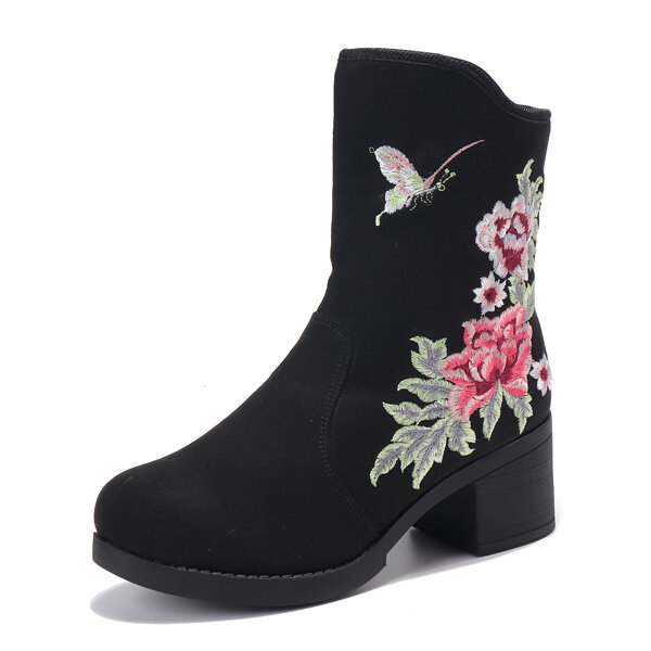 Flower Embroidered Chunky Heel Keep Warm Boots