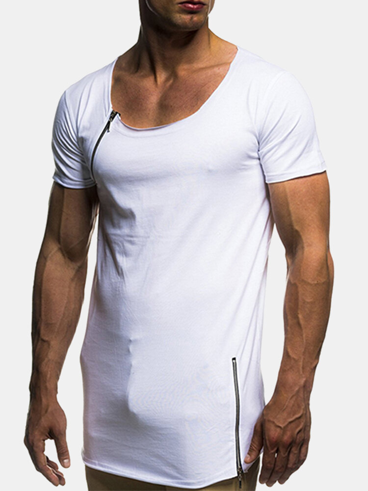 Mens Breathable Zipper Design Solid Color Basic Casual Cotton T Shirts