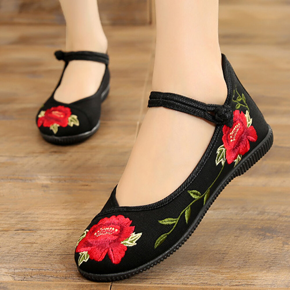 Embroidered Flower Frog Buttons Soft Flat Shoes