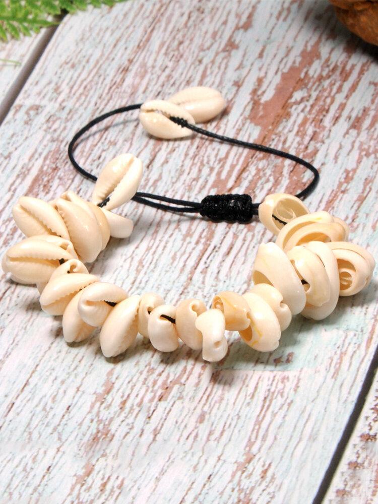 Vintage Trendy Natural Shell Beaded Hand-woven Bracelet