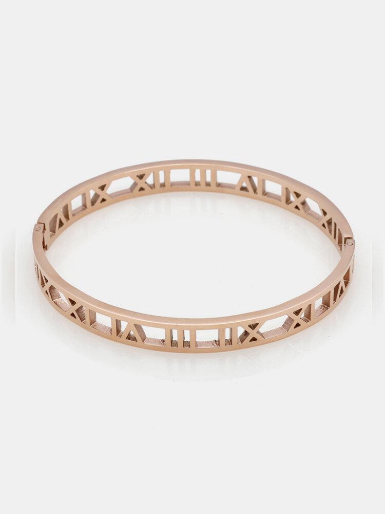 男性のための女性のためのファッション中空ローマ数字のバングルブレスレットチタン鋼のチャームゴールドブレスレット