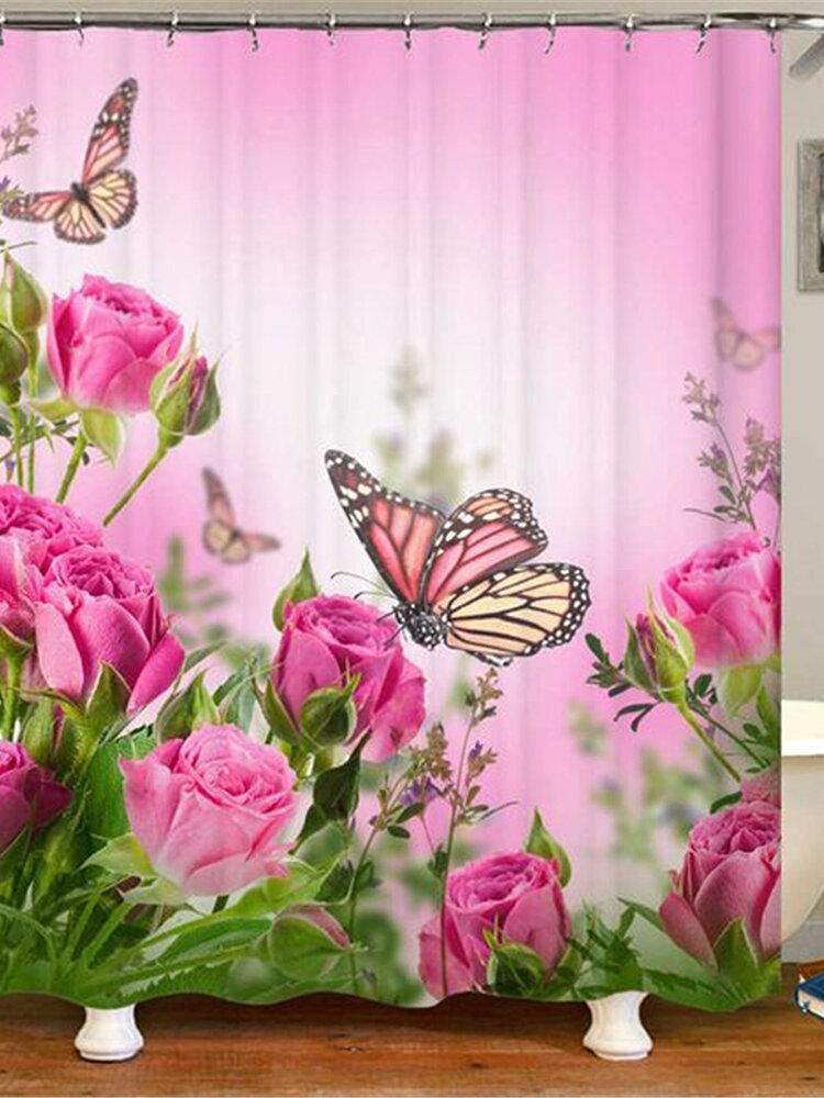 180x180cm Shower Curtain/3-Piece Floor Mat Butterfly Pink Rose Carpet Toilet Mat Bathroom Accessories
