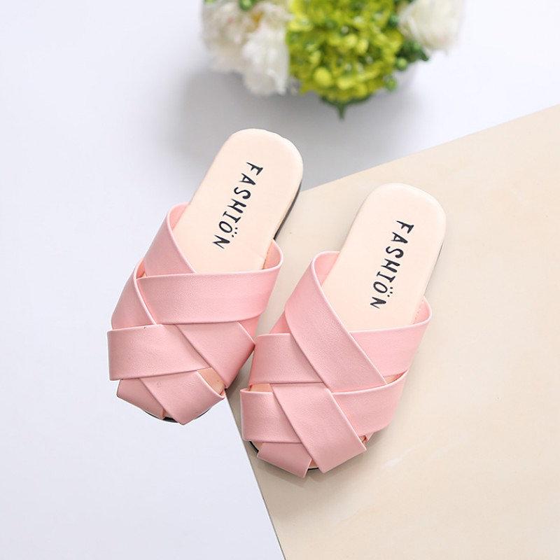 Girls Summer Baotou Weaving Slip On Lazy Comfy Flat Slippers
