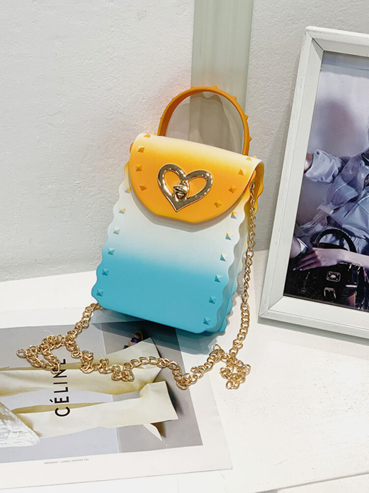 Casual Stylish Gradient Color Heart-shaped Flap Pyramid Pattern PVC Jelly Bag Clutch Shoulder Bag