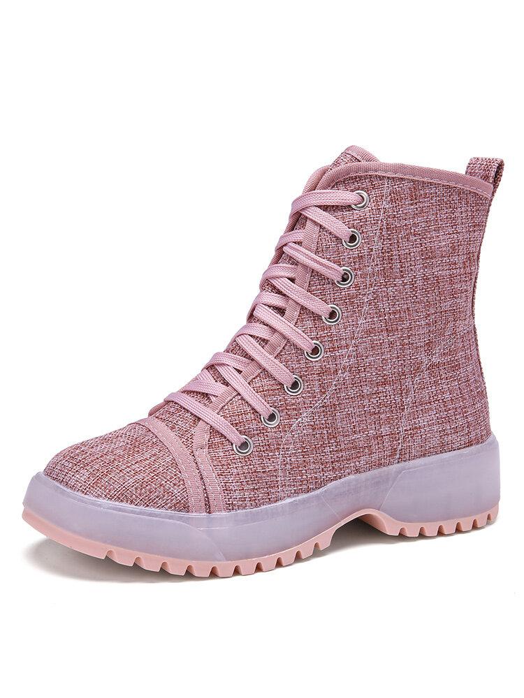 Women Lace up Cloth Shoes Solid Color Wear-resistant Boots