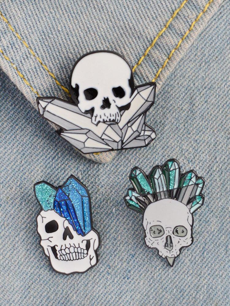 Cartoon Crystal Skull Enamel Pin Punk Skeleton Ore Brooches Badge Backpack Collar Pin Jewelry Gift
