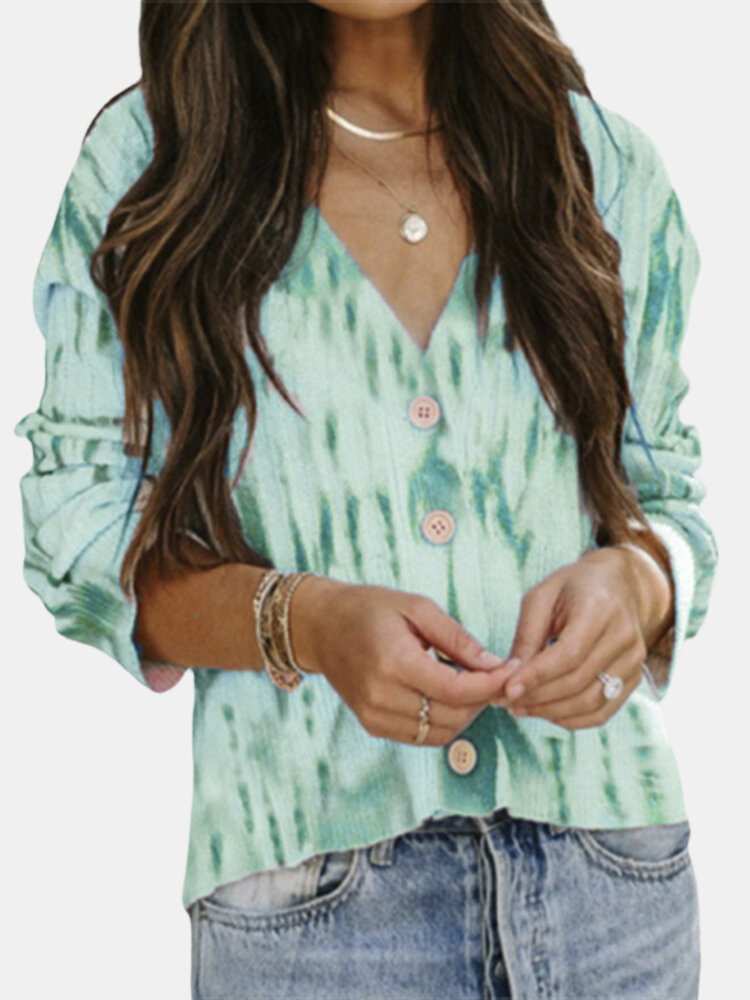 Women Casual Button Print Knitted Long Sleeve V-neck Sweater