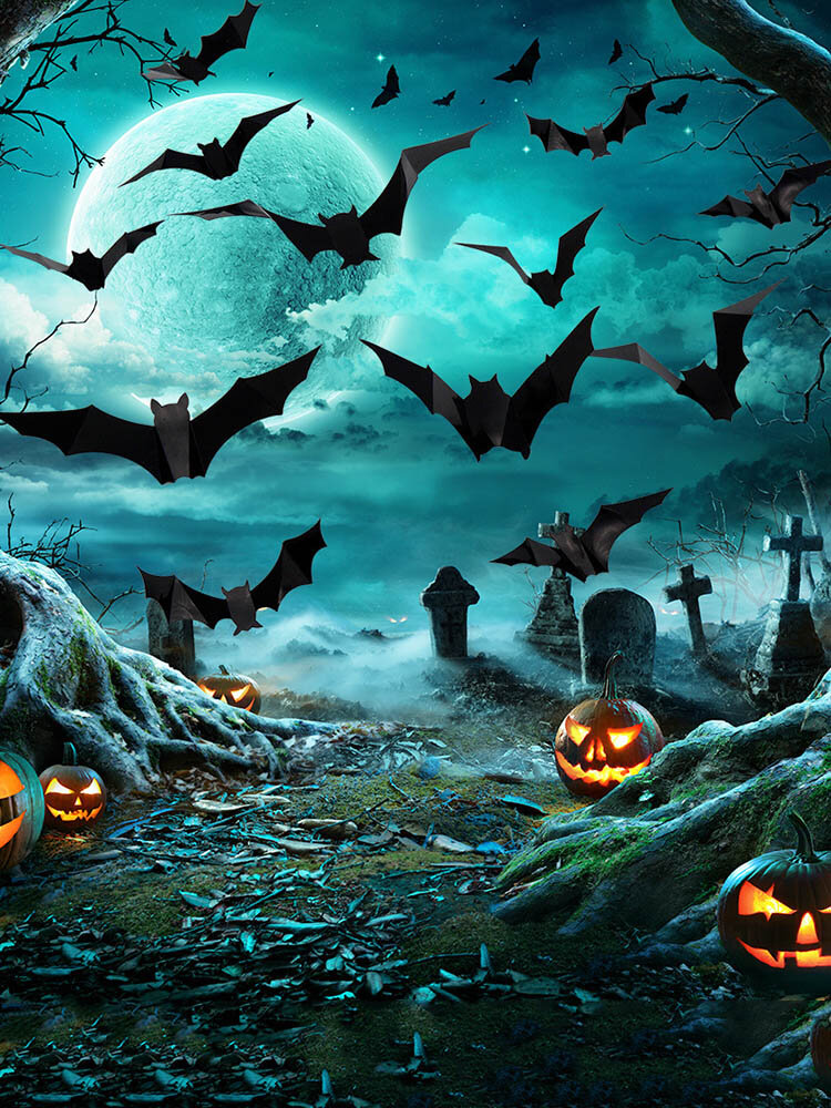 12/24/48/96 Pcs A Set Halloween 3D Black Spider Bat Wall Stickers DIY Decorative Wall Decal For Halloween Removable Stickers
