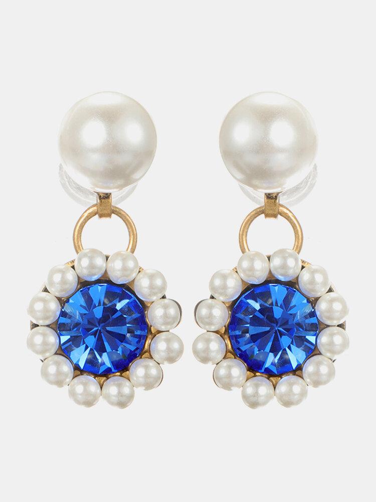 Elegant Dazzling Clear Gemstone Pearl Earrings Vintage Geometric Piercing Womens Drop Earrings