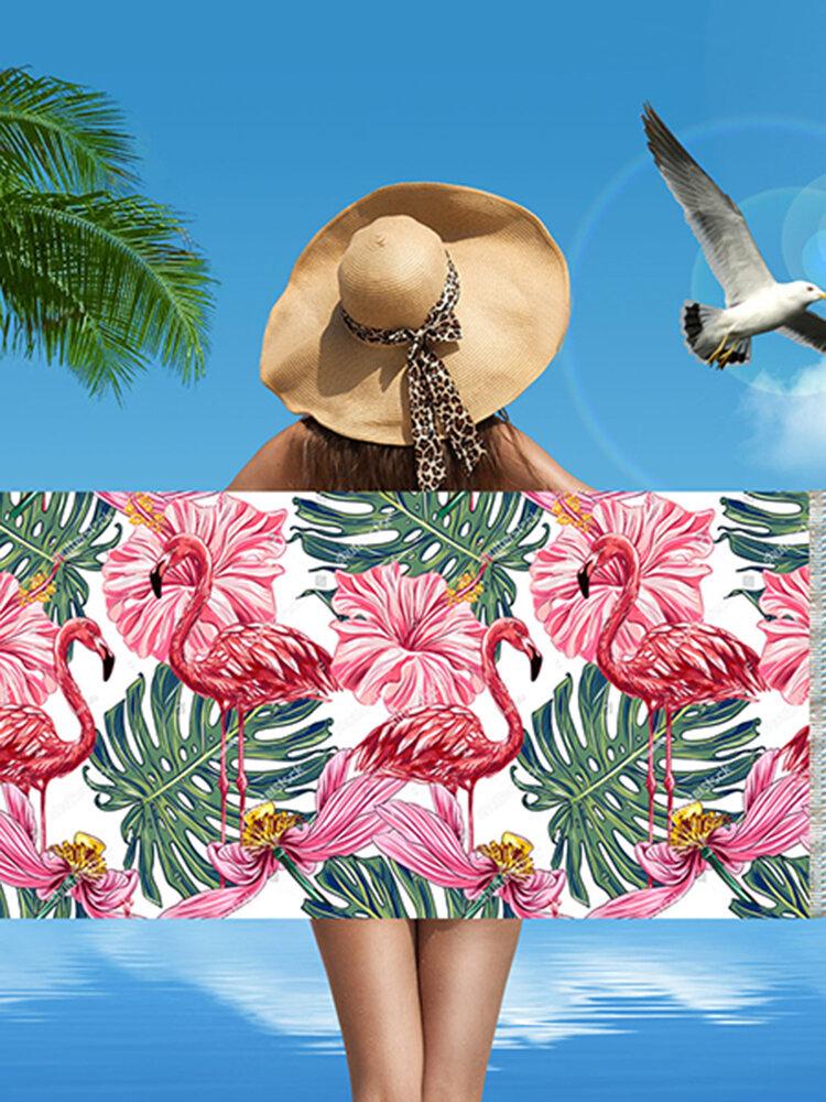 Flamingo Шаблон Микрофибра Прямоугольная с бахромой Пляжный Полотенце Абсорбирующая ванна Пляжный Полотенце