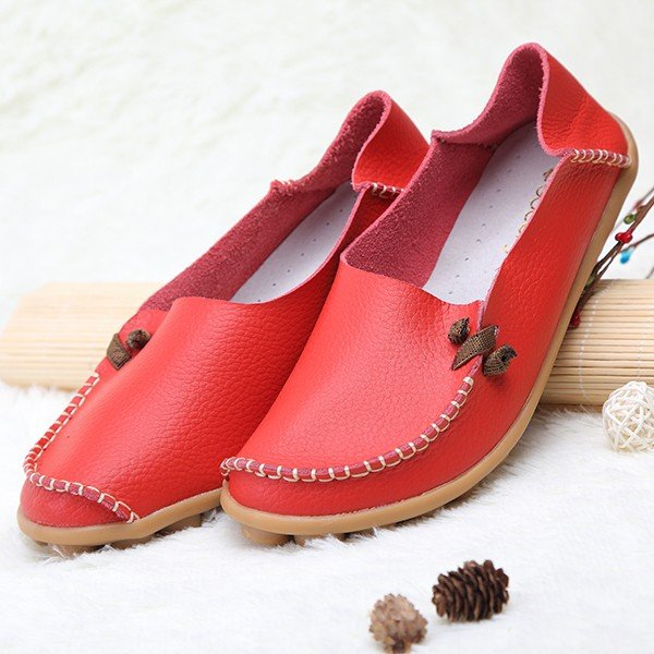 Big Size Pure Color Leather Soft Sole For Women Comfortable Lace Up Slip On Flat Loafers