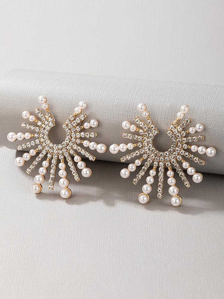 Trendy Pearl Earrings Temperament Alloy Diamond Earrings