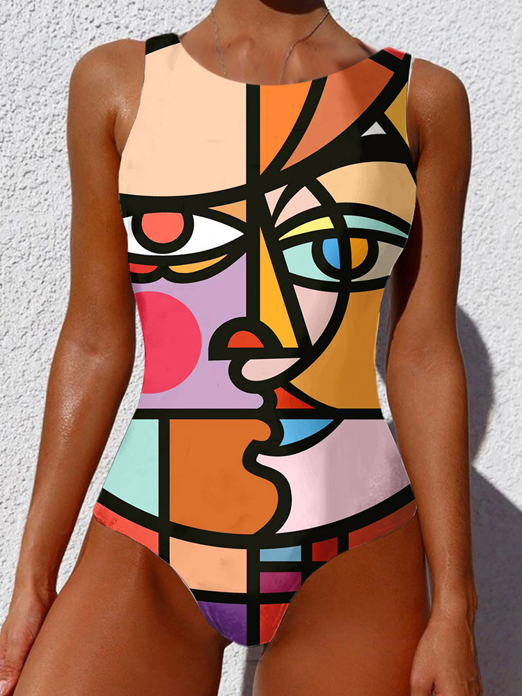 Plus Size Women Graffiti Abstract Print Wide Straps High Neck Backless Slimming One Piece