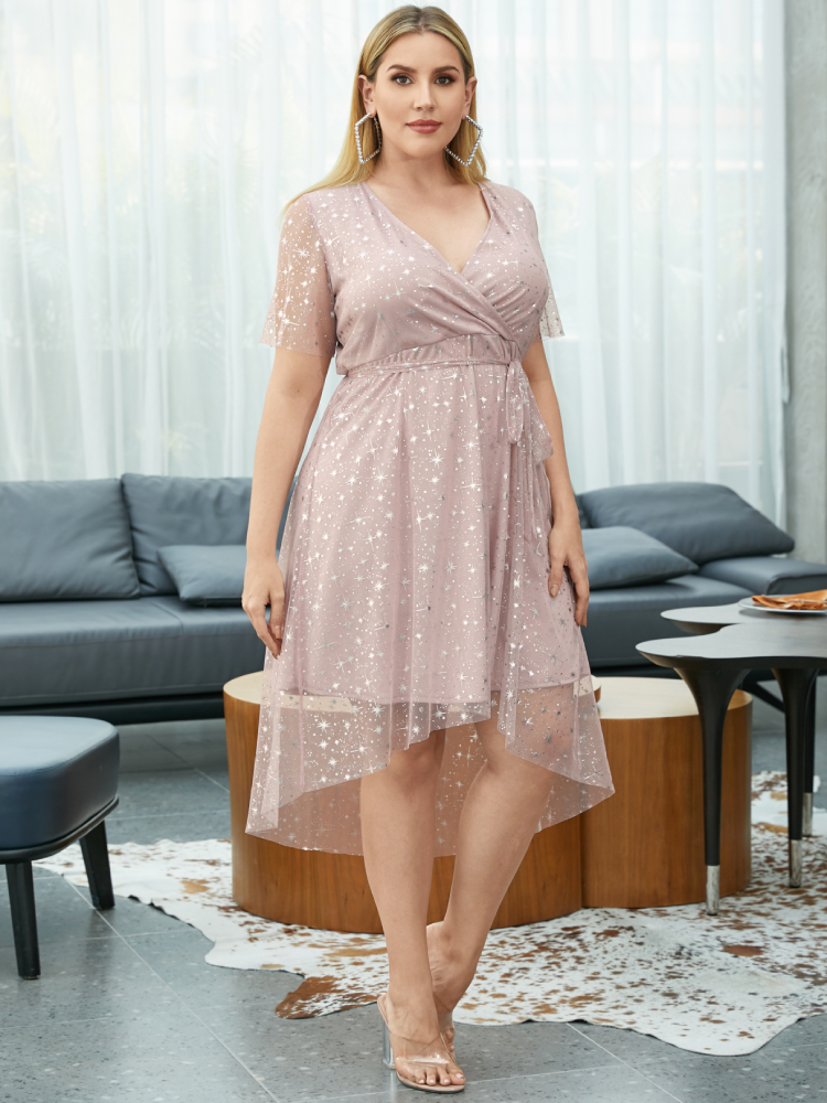 Mesh Asymmetrical Knotted Plus Size Party Dress