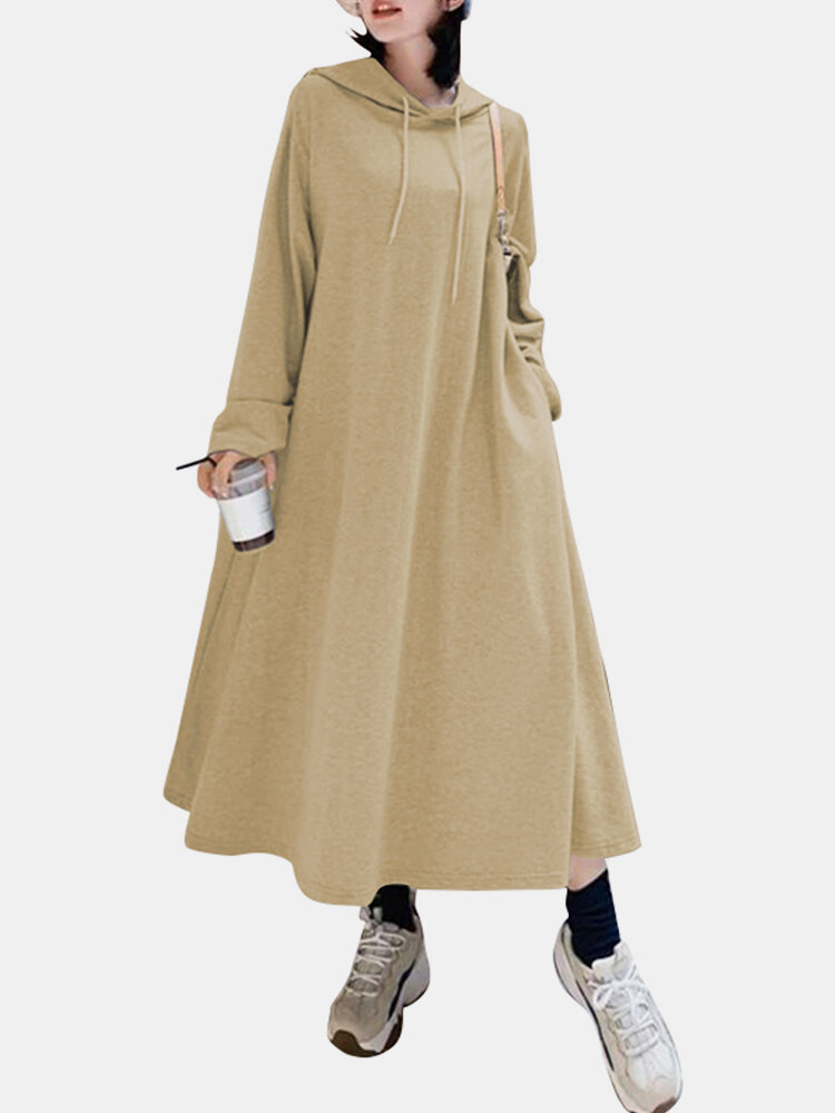 Solid Color Hooded Pockets Casual Loose Long Hoodie Dress