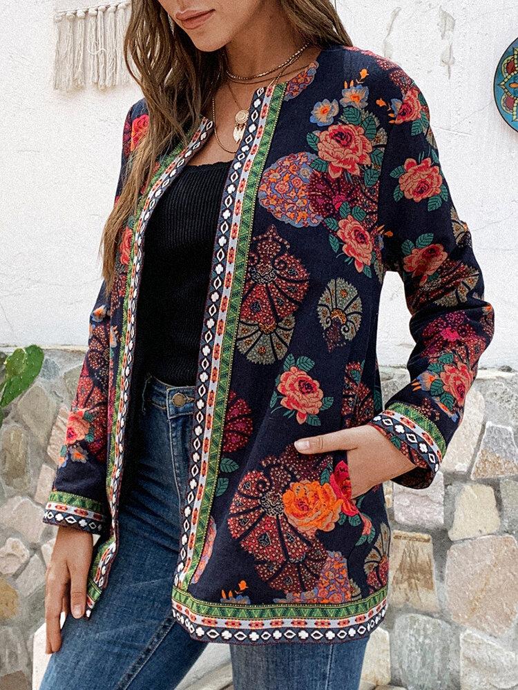 エスニックスタイルフローラルプリントPlusサイズのジャケット