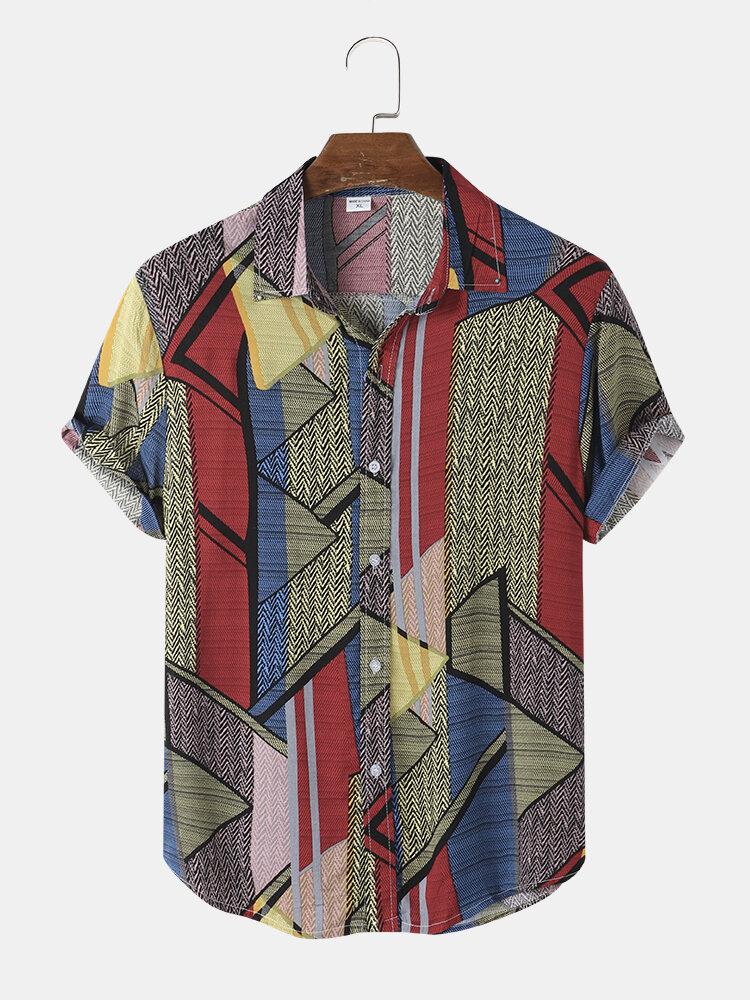 Mens Geometric Pattern Colorblock Button Up Short Sleeve Shirt