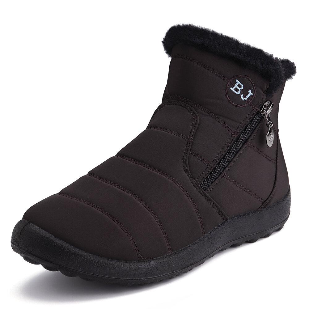 Designer Women Waterproof Warm Lining Zipper Soft Sole Ankle Short Snow Boots