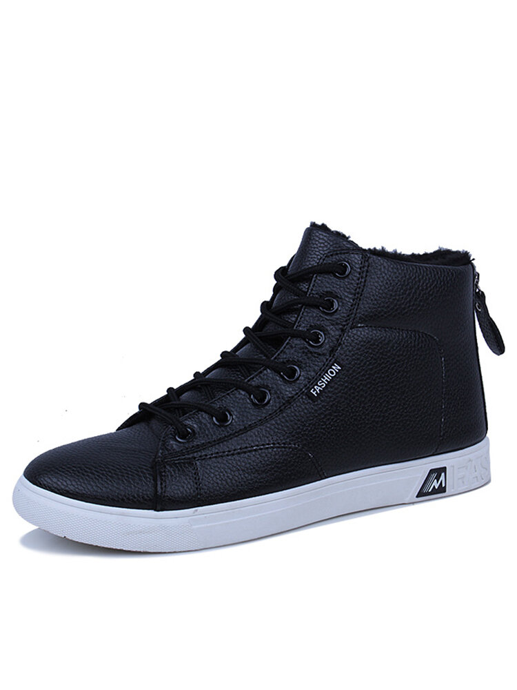 Men High Top Comfy Round Toe Warm Lined Casual Sneakers