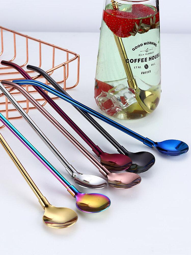 ملعقة ماصة للشرب ملونة قابلة لإعادة الاستخدام 2 في 1 غير القابل للصدأ شفاطات معدنية من الفولاذ والقهوة والحليب