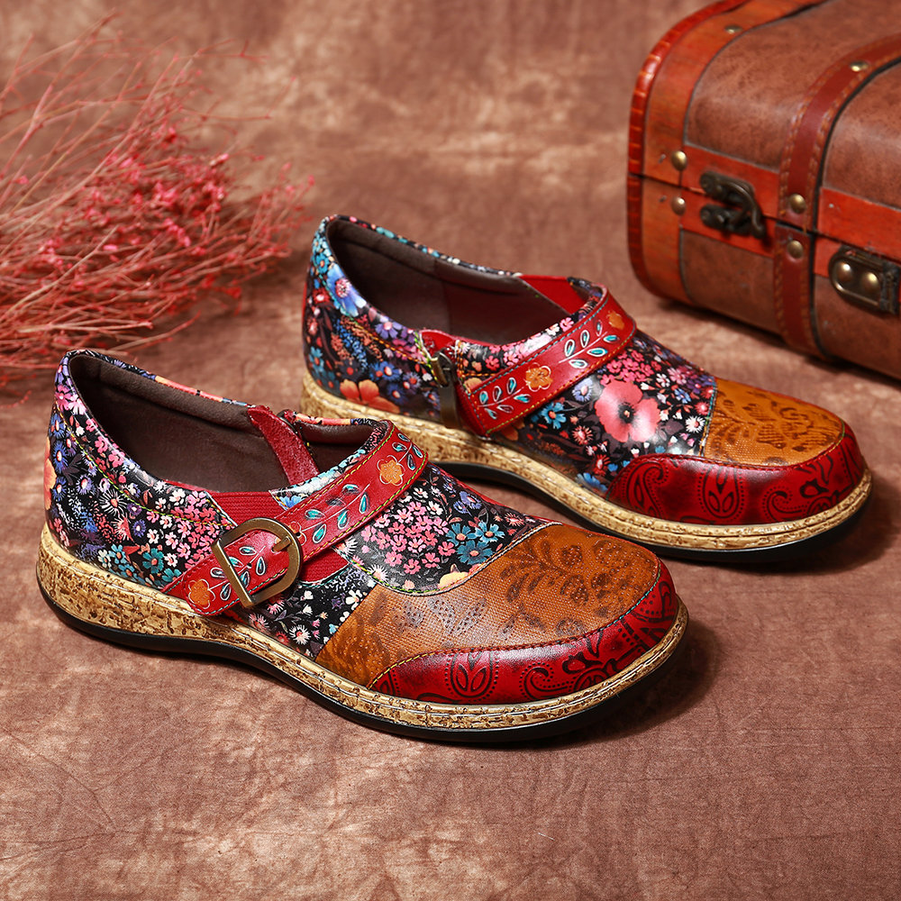 SOCOFY Retro Buckle Fancy Flowers Splicing Genuine Leather Stitching Zipper Comfortable Flat Shoes
