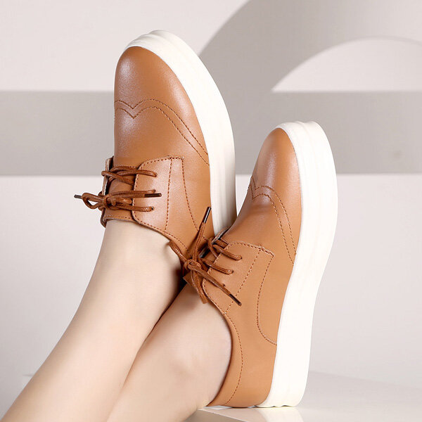 Hot-sale Leather British Style Soft Vintage Retro Lace Up Platform Brogue Loafers