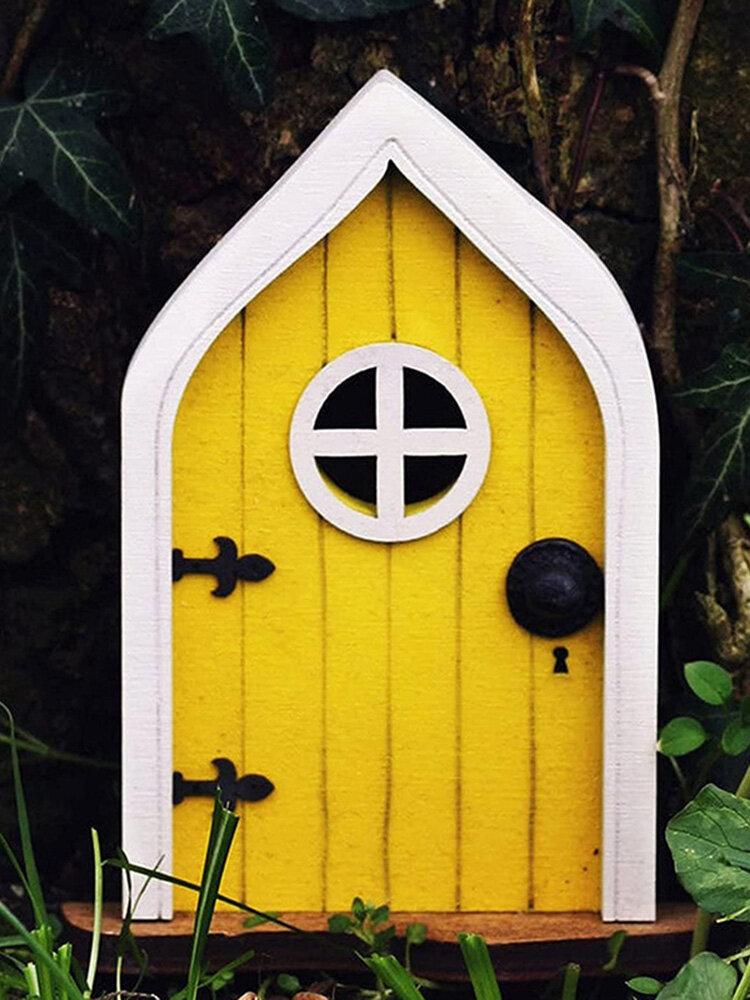 1 PC Wooden Handmade Multicolor Cute Miniature Fairy Gnome Dwarf Gate Landscaping Yard Garden Tree Decor Ornament