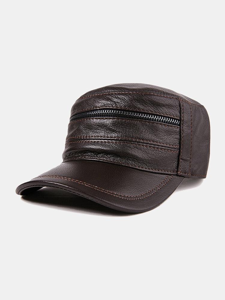 Leather Hat Men's Baseball Cap Goatskin Hat Leather Flat Top Hat