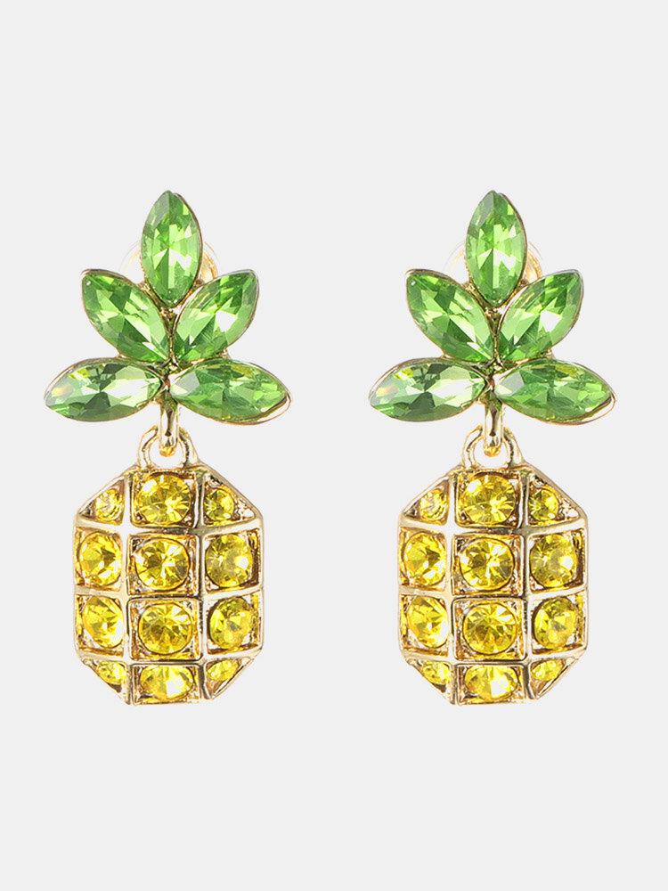 Women's Crystal Pineapple Earrings 18K Gold Stud Earrings Rhinestones Drop Earrings for Women