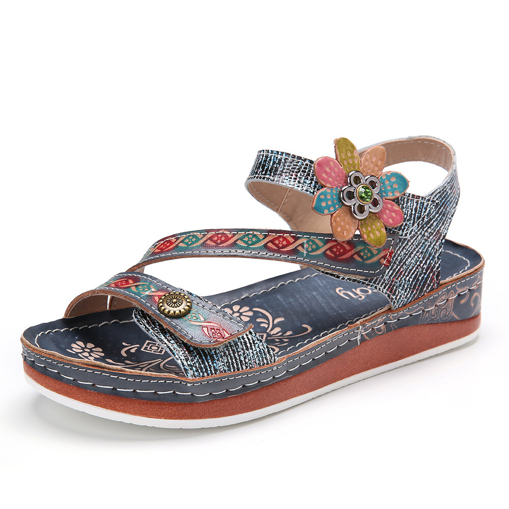 SOCOFY Retro Genuine Leather Floral Stitching Ankle Strap Flat Sandals
