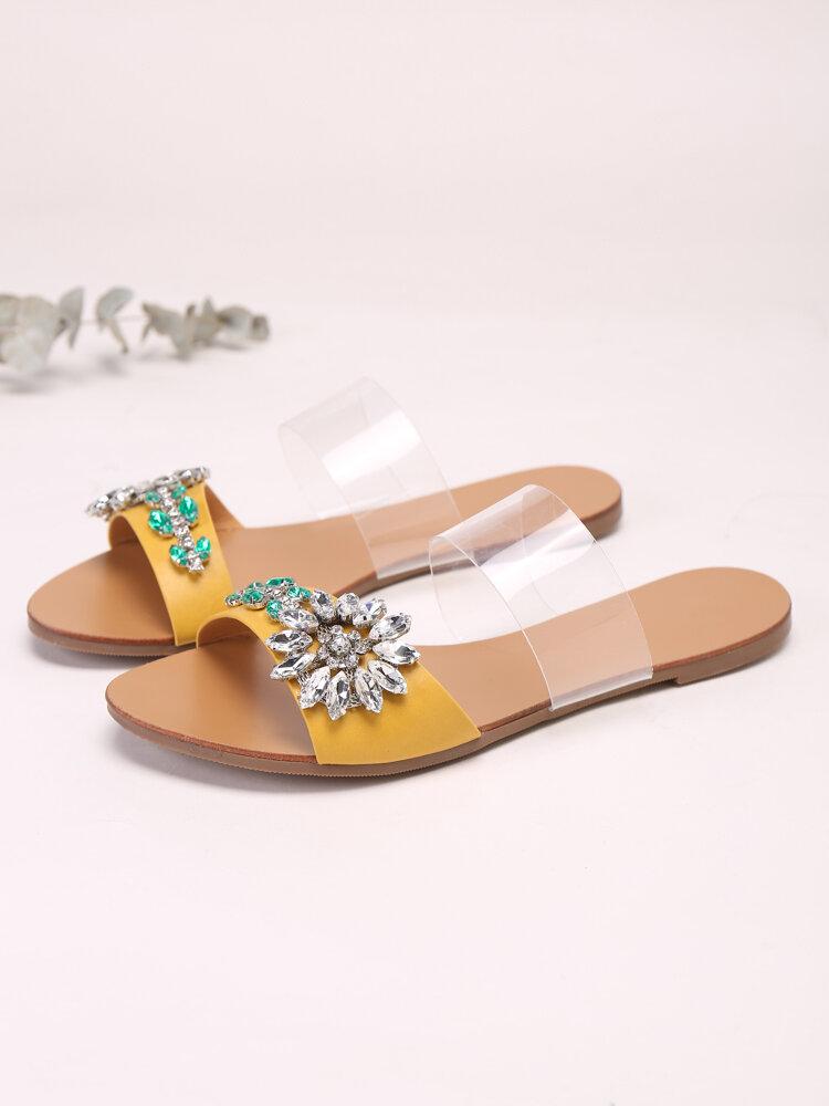 Women Flower Rhinestone Decor Two Band Strap Comfy Slip On Slides Sandals