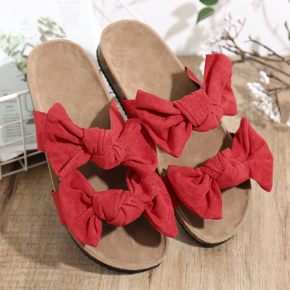 Large Sizes Women Double Band Solid Color Suede Uppers Flats Slippers