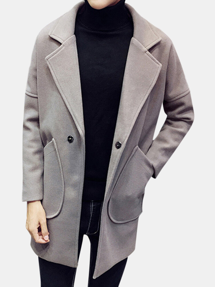 fcd4f6c2f698 Mens Wool Coat Mid-long Single Breasted Solid Casual Business Trench Coat  Online - NewChic