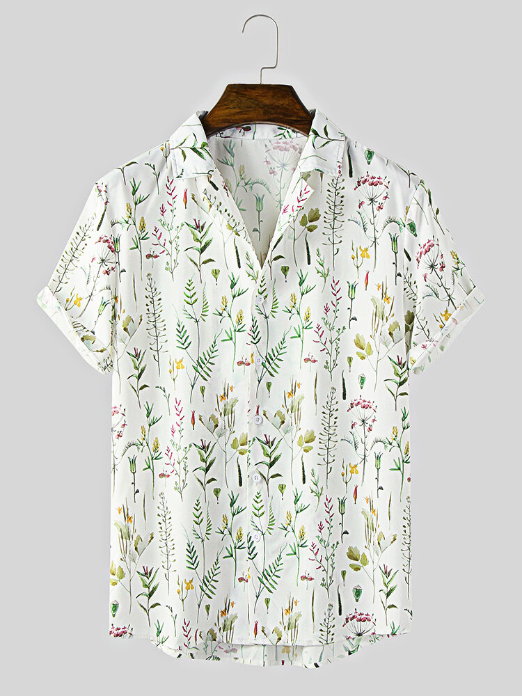 Mens All Over Floral Plant Printing Lapel Holiday Short Sleeve Shirts