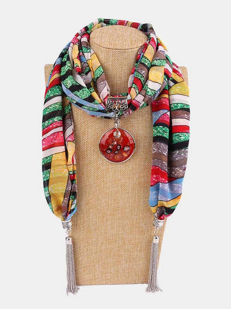 Vintage Chiffon Tassel Women Scarf Necklace Geometric Pendant Flower Leaf Pattern Shawl Necklace