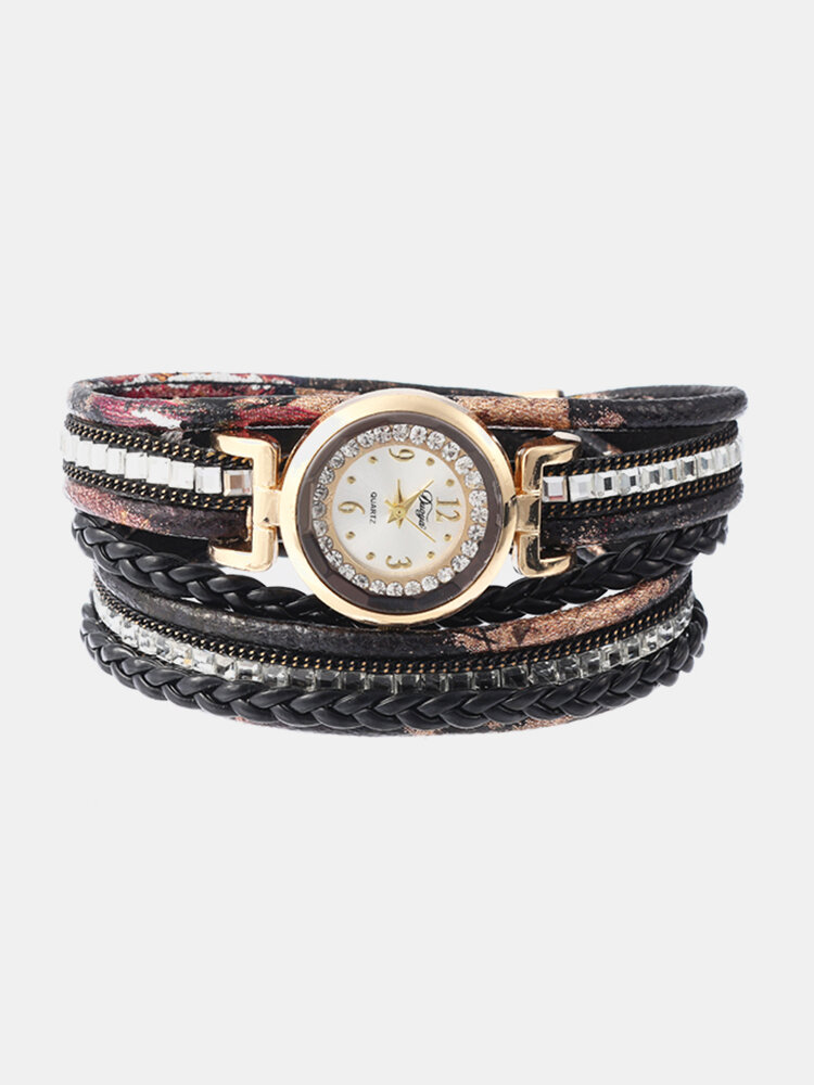 Bohemian Women Rhinestone Leather Women's Watches Multicolor Leather Bracelet Gift for Her