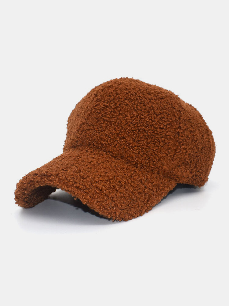 Women Lamb Fur Warm WInter Outdoor Sunvisor Casual Couple Hat Baseball Hat