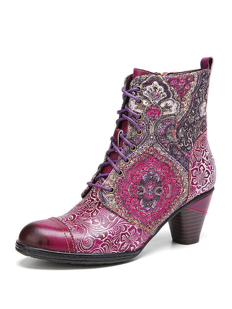 SOCOFY Elegant Flowers Splicing Floral Printed Leather Comfy Round Toe Lace-up Zipper Short Boots