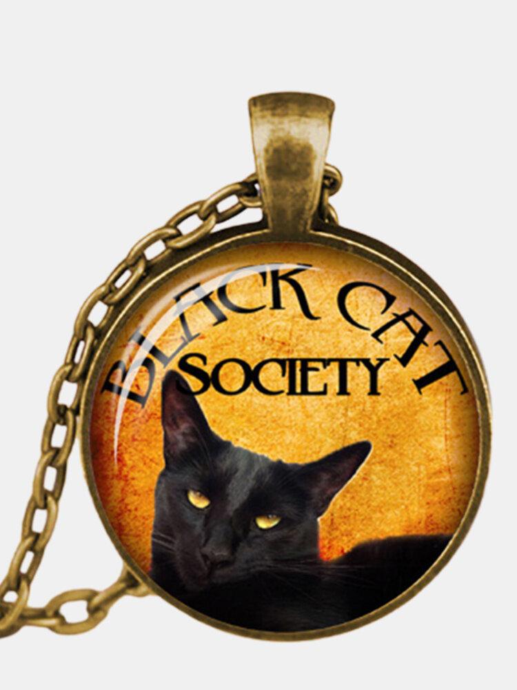 Vintage Metal Glass Cute Cat Necklace Geometric Round Animal Printed Gem Pendant Necklace