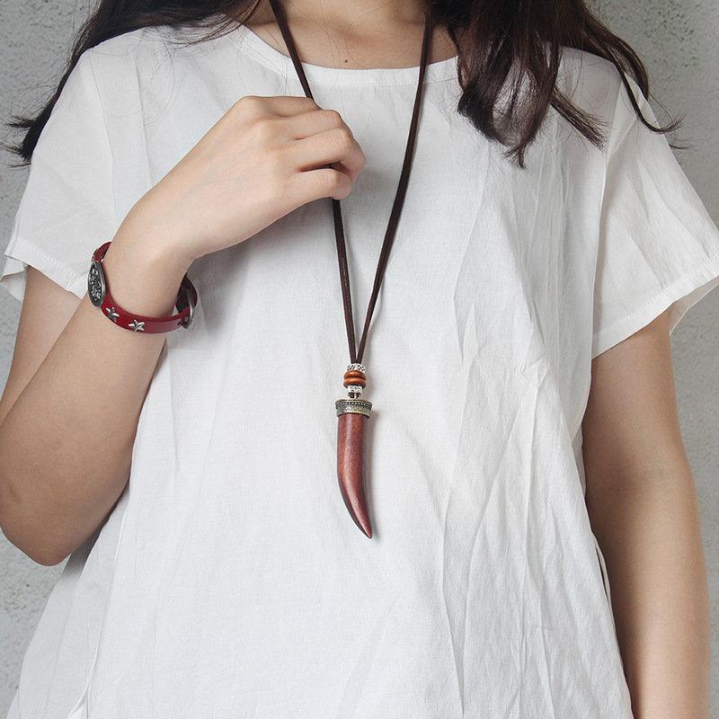 Ethnic Handcraft Wooden Necklace Ivory Pendant Statement Necklaces Vintage Long Necklaces for Women