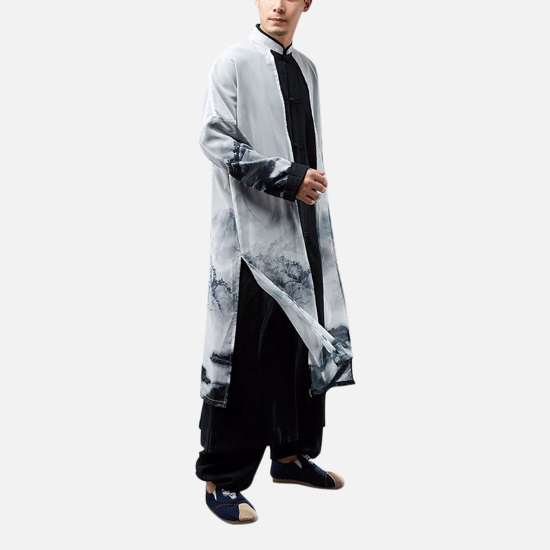 Fake Two-pieces Chinese Style Cotton Linen Chiffon Splice Long T-Shirt Trench Coat Male Casual Robe sales-NewChic