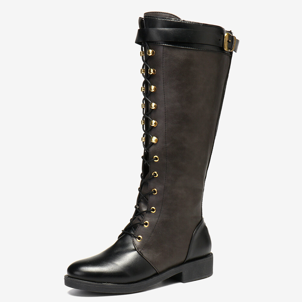 Plus Size PU Slip Resistant Stitcing Buckle Strap Lace Up Knee High Flat Boots