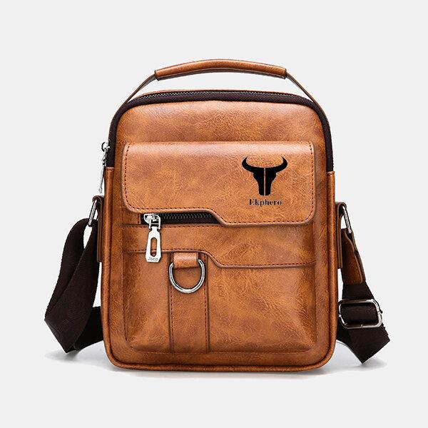 Men Multi-Carry PU Leather Solid Business AntiTheft Shoulder Bag Crossbody Bag