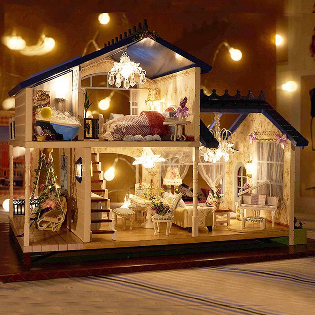 Casa de muñecas Provenza en miniatura con luz LED DIY Kit Casa de muñecas de madera Modelo Juguete para niños con muebles Adorno para el hogar Regalo hecho a mano familiar