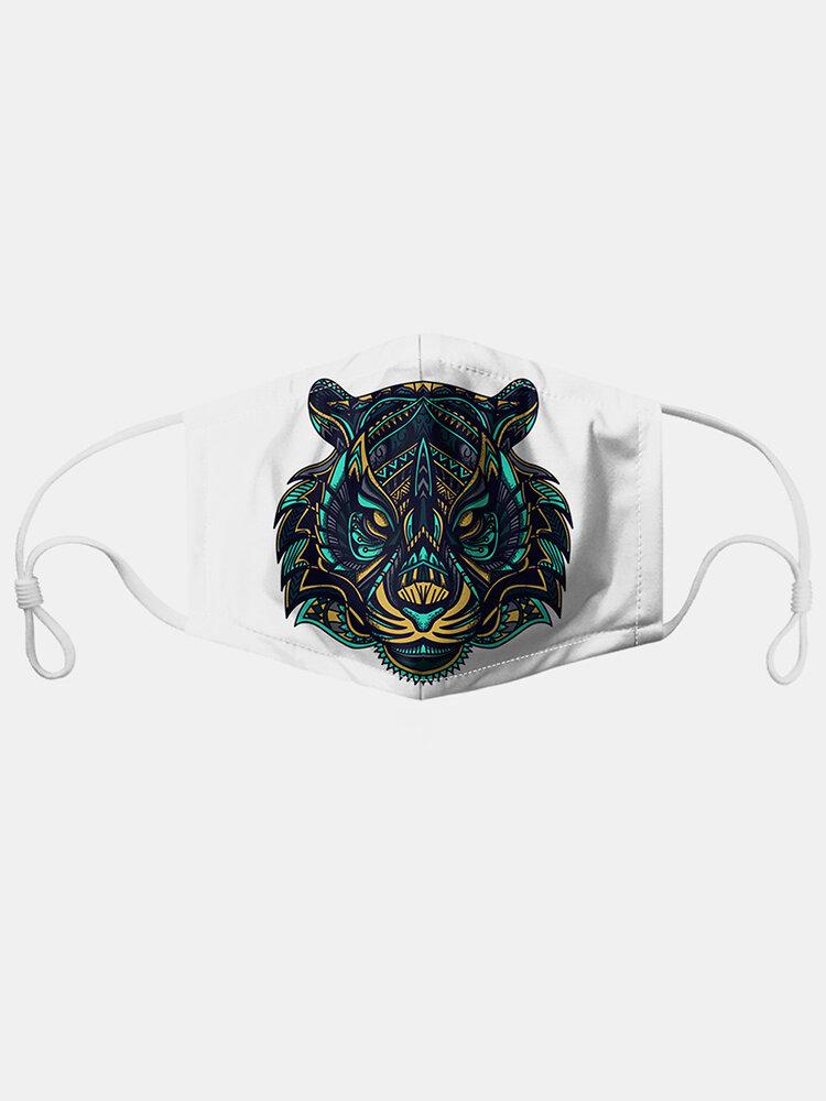 Tiger/Lion Pattern Polyester Fashion Dustproof Mask With 7 Mask Gaskets