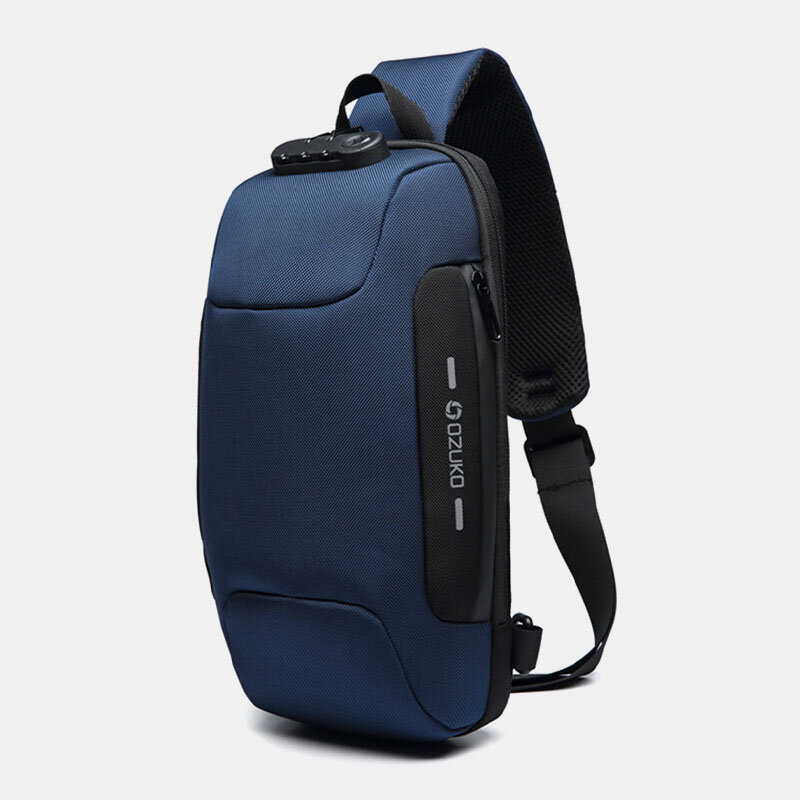 Men Travel Sling Bag USB Charging Anti-theft Crossbody Bag
