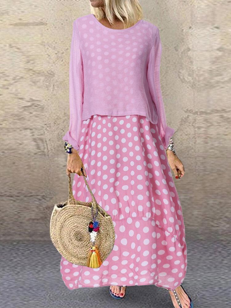 فستان كاجوال منقط بولكا مرقع قطعتين مقاس Plus فستان ماكسي
